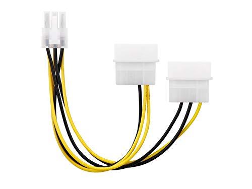 adaptare 35106 2-mal 4-polig IDE Molex auf 1-mal 6-polig PCI-E Strom-Adapter-Kabel für Grafikkarte 15 cm