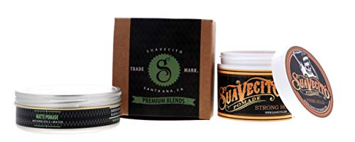 Suavecito Duo Bundle. Original Firme (4 ounce) and Matte Pomade (4 ounce) Variations. Strong Hold Styling Hair Pomades for Men.