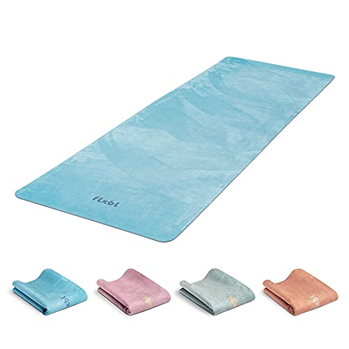 FLXBL Tappetino da yoga di lusso, antiscivolo, lavabile, sottile, leggero e pieghevole, per viaggiare, sostenibile e 100% vegano (Ocean)