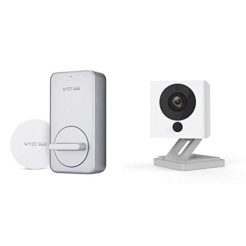 WYZE WLCKG1 Smart Lock, Silver & Cam 1080p HD Indoor Smart Home Camera with Night Vision, 2-Way Audio, Compatible with Alexa & The Google Assistant, White, 1-Pack