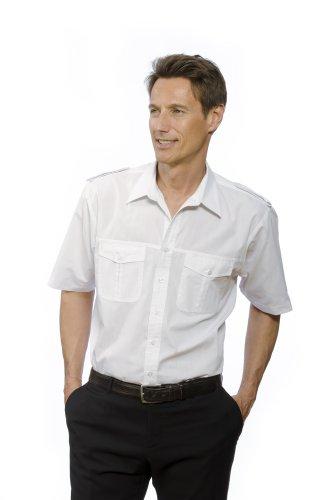 Nordhandel Pilotenhemd, 100% Baumwolle, abnehmbare Schulterklappen, Kurzarm Herren Weiß 39/40 (M)