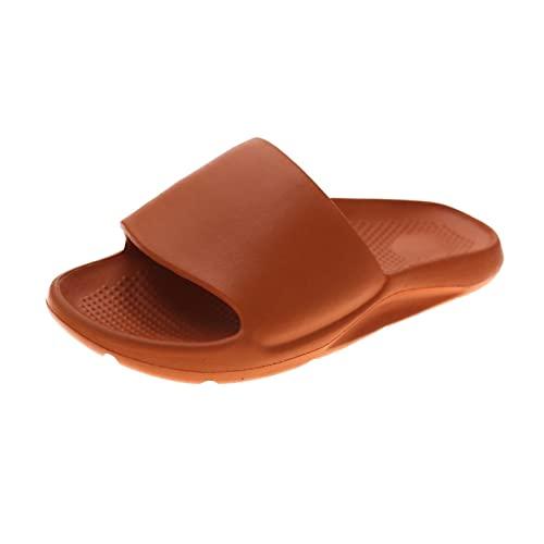 Cacagie Zapatillas de verano con rayas, antideslizantes, para interior y exterior, para ducha, para el jardín, para casa, naranja, 44 EU