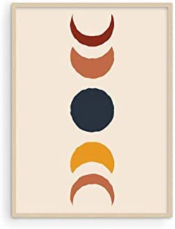 Moon Phases Wall Art Boho Prints By Haus and Hues Mid Century Modern Wall Art Boho Posters and product image