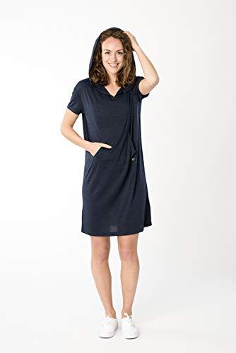 super.natural Damen T-Shirt Kleid, Mit Merinowolle, W HOODED DRESS, Größe: S, Farbe: Dunkelblau meliert