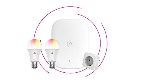Telekom Magenta SmartHome Starter Set Beleuchtung - Home Base 2 - LED-Lampe E27 farbig - Zwischenstecker Innen