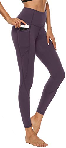 Persit Damen Yoga Leggings, Sport Tights Leggins Yogahose Sporthose für Damen Rotlila-M