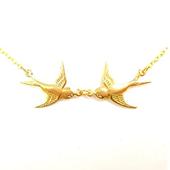 Harry Tattoo Necklace Double Swallow Necklace Two Birds Necklace Gold Swalow Necklace Tattoo Birds Rockabilly Sailor Vintage Styles