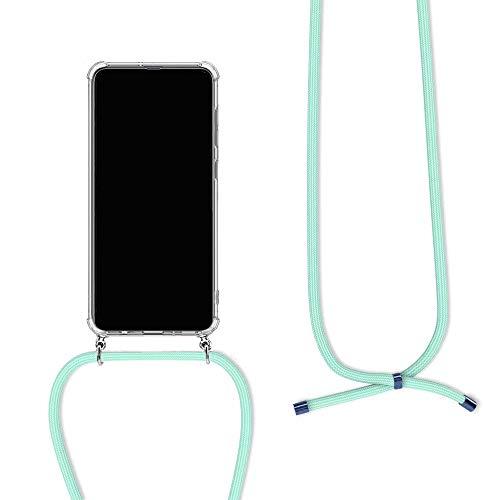 Orgstyle Funda con Cuerda para Huawei Y7 2018, Suave Silicona Case con Ajustable Cuello Cadena, Carcasa Transparente de TPU con Colgante for Huawei Y7 2018, Verde