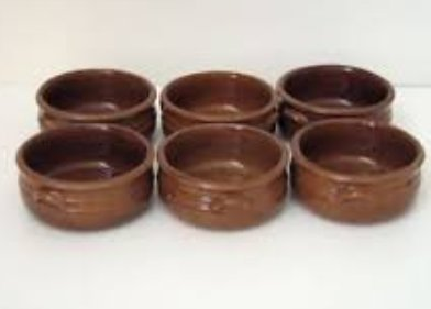 Juego de 6 cazuelas de cerámica rústica, diámetro 13 cm