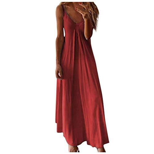 Tomwell Femme Robe Longue Été Bohème Chic Col V sans Manche Grande Taille Tie-Dye Imprimer Camisole Robe de Plage Vacances Rouge 46