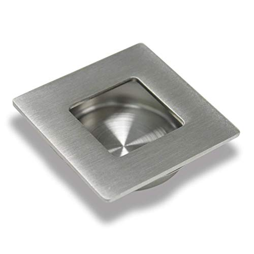 litulituhallo Tirador de puerta corredera 304 de acero inoxidable para cajón de gabinete cuadrado empotrable níquel cepillado 50 mm 1 pieza