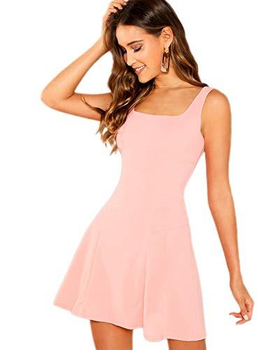 Romwe Women's Sleeveless Zipper A Line Party Bodycon Dress Pink L