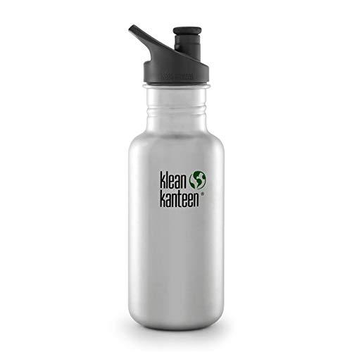 Klean Kanteen Edelstahlflasche Flasche Classic Sports Cap, Frasco, Plata (Brushed Stainless), 0.532 Litros