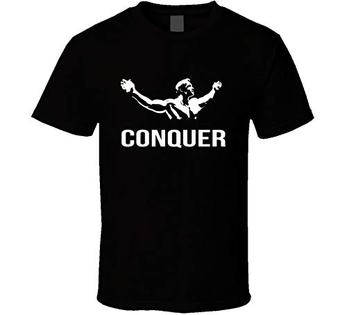 Conquer T Shirt Arnold Schwarzenegger Gym Aesthetics Vintage Black Mens New tee