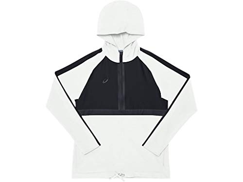 ASICS Damen-Trainingsjacke mit Kapuze, Gewebestoff, Damen, Hoodie Jungen, 2032A757, Team White/Team Black, XS