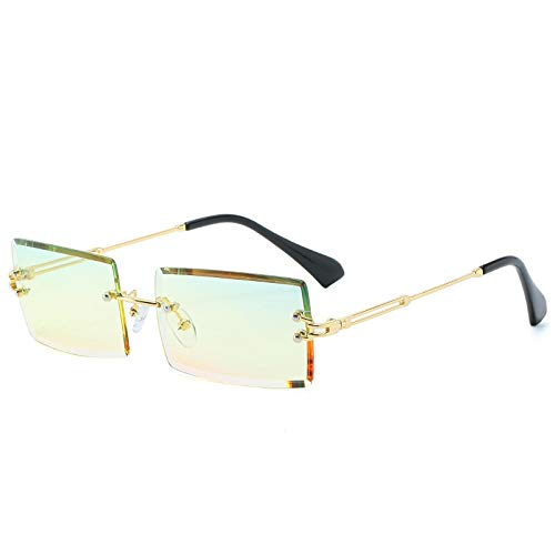 Gafas de Sol Sunglasses Gafas De Sol Rectangulares De Lujo para Mujer, Diseñador De Marca, Marco De Aleación Cuadrado Sin Montura Vintage, Tonos Clásicos C7