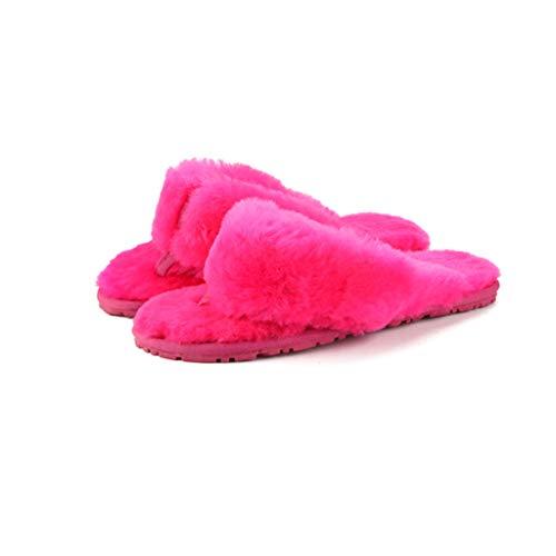 LOSOMI Warme, mit Fleece gefütterte Hausschuhe, modische, offene Hausschuhe, Winter-Indoor-Kunstpelzrutschen, Woll-ähnliche Flip-Flops