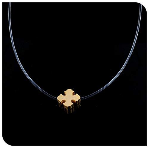 FKJSP Acero Inoxidable Invisible Cadena de joyería Collar Collares for Las Mujeres Collares Gargantilla Neckless de Plata del trébol (Metal Color : Type 6)