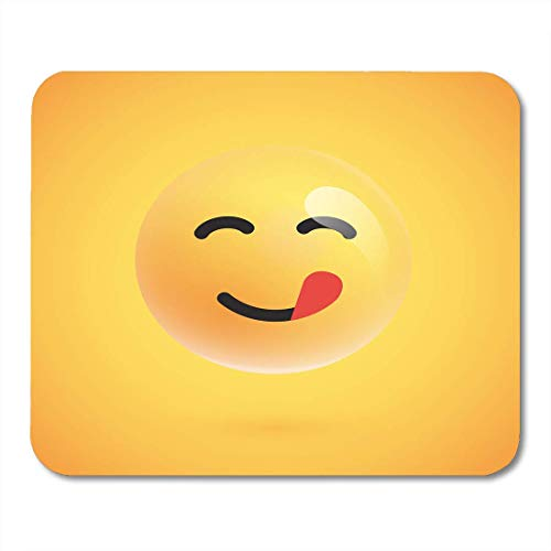 Mouse Pads Face White Yummy 3D Yellow Emoticon with Tongue from Emoji Cartoon Mouse Pad for Notebooks,Desktop Computers Mats Office Supplies 11.8-inch by 9.85-inch