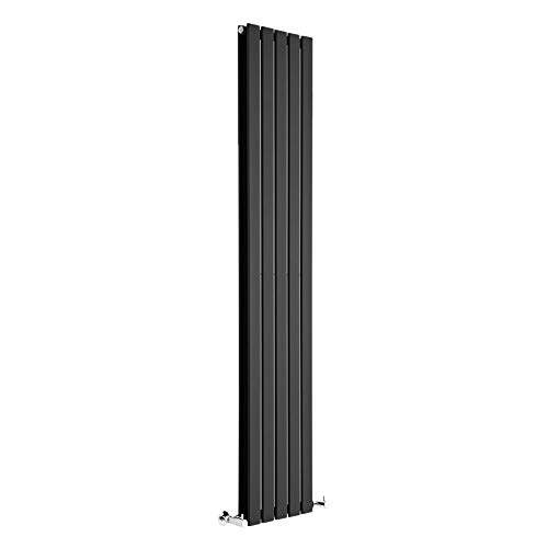 Hudson Reed Radiador de Diseño Moderno Vertical Delta - Radiador con Acabado Negro - Paneles Planos - 1780 x 350mm - 1237W - Calefacción