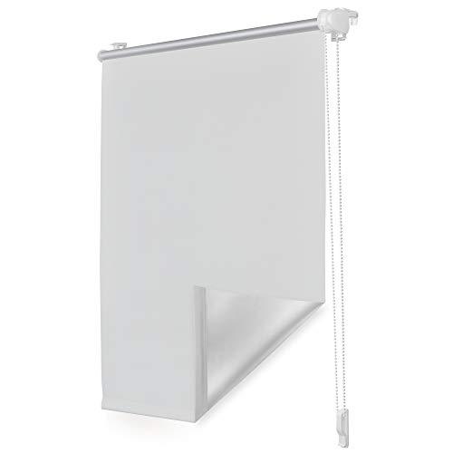 ROOMY Thermo-Rollo Klemmfix ohne Bohren Verdunkelungsrollo mit Montageschiene Hitzeschutzrollo Sichtschutz Klemmrollo Jalousie Weiß, 65 cm x 150 cm (B x L)