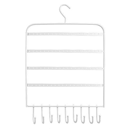 Liineparalle Ohrring-Halsketten-Halter-Schmuck und Halsketten-Organisator An der Wand befestigter Schmuckhalter mit 4 Reihen-schwarzem Metallschmuck-Display und 10 Haken(2#)