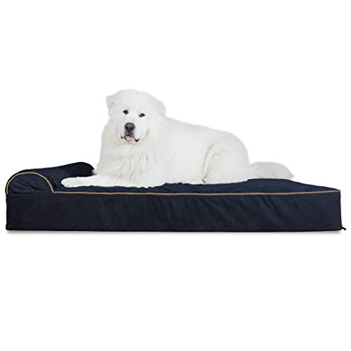 Furhaven Pet Dog Bed - Orthopedic Goliath Quilted Faux Fur & Velvet Chaise Lounge Living Room Couch Pet Bed w/ Removable Cover for Dogs & Cats, Dark Blue, 4XL