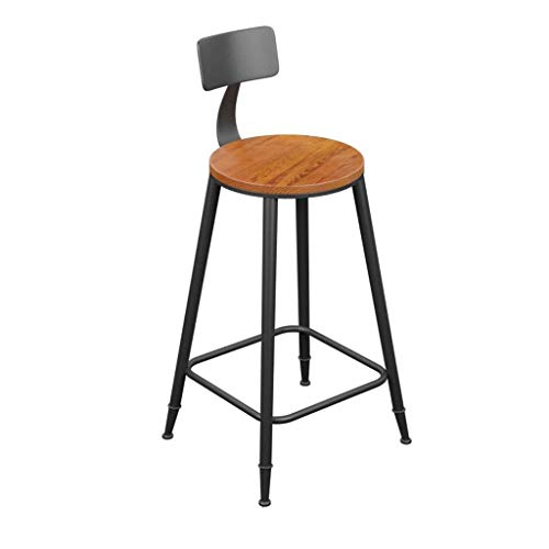 YUXO Bar Stools High Office Retro High Chair Bar Seat Iron Dining Stools With Backrest Solid Iron Frame Base Suitable For Kitchen Bar Cafe Restaurant High Bar Stool Kitchen Stepstools (Size : 68cm)