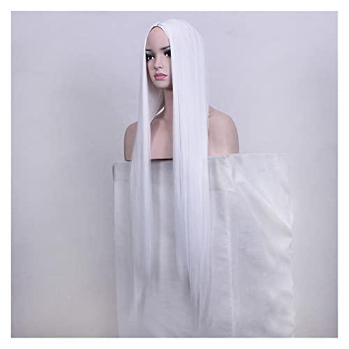 CJshop Peluca Mujer Color Blanco Largo Sedoso Peluca Recta Peluca sintética Moda Mujer Resistente al Calor Peluca de Pelo para Fiesta Cosplay Peluca Sintética (Size : 100cm)