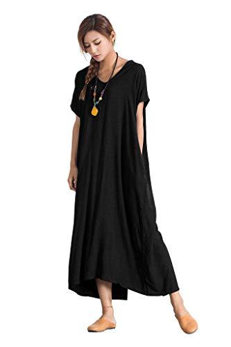 Sellse Womens Linen Loose Summer Large Size Long Dress Plus Size Cotton Clothing