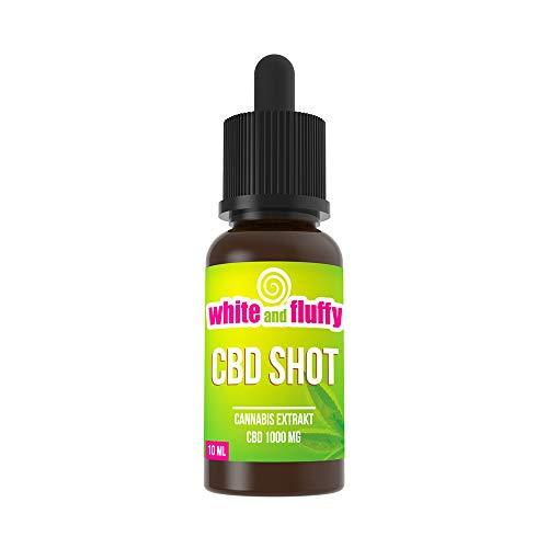 White and Fluffy® 1000mg CBD SHOT Liquid 10ml PUR Base Geschmacksneutral für Shake and Vape für E-Zigaretten und E-Shishas
