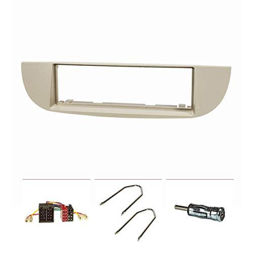 tomzz Audio 2414-039 - Set mascherina autoradio compatibile con Fiat 500, anno di costruzione 2007-2015, beige con adattatore radio ISO, adattatore antenna ISO DIN, staffa di sblocco