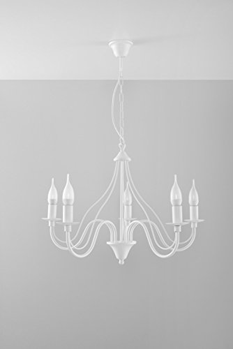 Nostalgischer Kronleuchter (5-flmg, Rustikal, in Weiß) Landhauslampe Innenleuchte Dekolampe Hängeleuchte Pendelleuchte Lüster