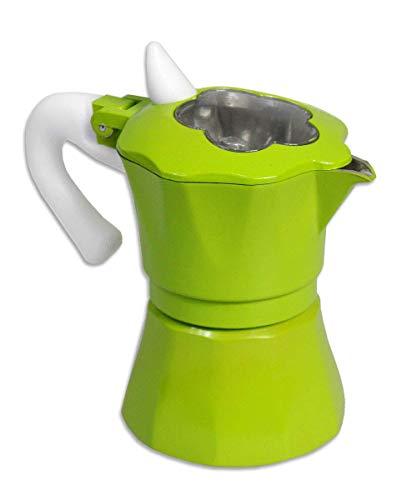 Vetrineinrete® Caffettiera Colorata Moka 6 Tazze Macchina del caffè in Alluminio con Coperchio Trasparente a Forma di Fiore per Espresso Idea Regalo 61542 (Verde) C50