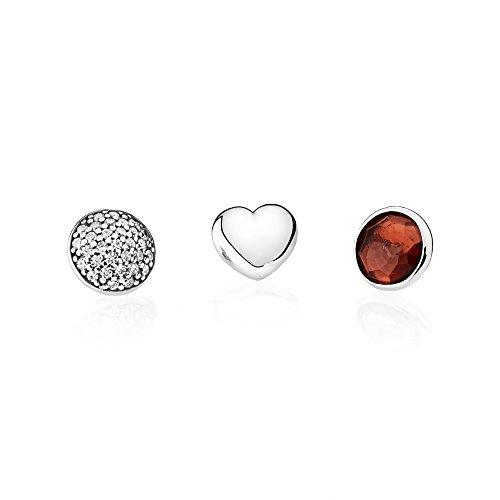 Pandora 792091GR - Juego de joyas para mujer, plata 925, color granate