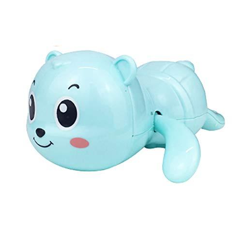 Markc Spaß Kinder Baden kleine Spielzeug automatische Schwimmen kühlen Bären Cartoon Spielzeug kleine Umweltschutz ABS Kunststoff 1-3 Jahre alte Kinder Wasserspiele Happy Bath Time (Color : Blau)
