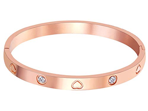 Valentine's Day Gift MVCOLEDY Jewelry Rose Gold Plated Bangle Bracelet Stone Stainless Steel Heart Crystal Bangle Bracelets for Women Jewelry Size 6.7'