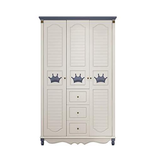 Yamyannie Szafa dziecięca dla chłopców i dziewcząt mały apartament sypialnia meble huśtawkowe drzwi trzydrzwiowe szafa do przechowywania ekonomiczna do domu (kolor: Biały, rozmiar: 210,6 x 58,5 x 134 cm)