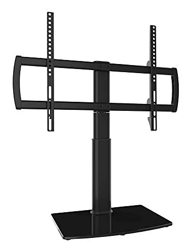 Soporte giratorio universal para TV, mesa base, TV de 32 a 65 pulgadas, giratorio de 80 grados, altura ajustable de 4 niveles (color negro)