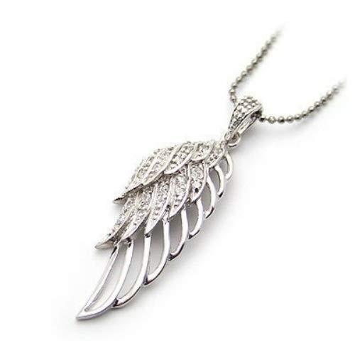 JinJinBijoux Collier Pendentif Aile d'ange en Argent 925- Diamant CZ(Zirconium) + Emballage Cadeau