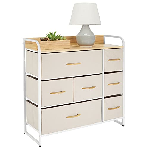 mDesign Dresser Storage Tower - Sturdy Steel Frame, Wood Top & Handles, Easy Pull Fabric Bins - Organizer Unit for Bedroom, Hallway, Entryway, Closets - 7 Drawers - Cream/White
