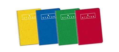 Enri, Cuadernos A5(4º), Pack de 5 Libretas Status de Tapa Extradura, 80 Hojas con Cuadrícula 4x4, Colores Aleatorios