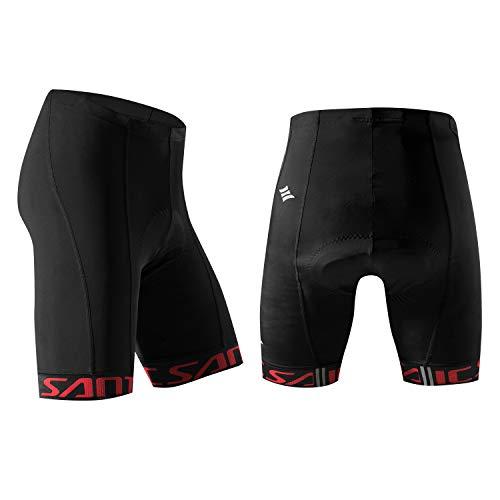 Santic Cycling Shorts Men's Bike Biking Bicycle Pants Tights 4D Coolmax Padded Black Red M