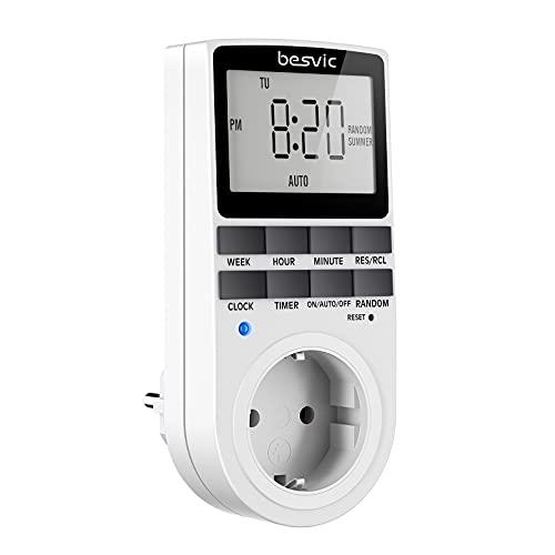 Digitale Zeitschaltuhr Steckdose, Besvic 3680W Timer Steckdose mit 10 täglichen konfigurierbaren Programmen, LCD Display und Anti-Theft-Zufallsmodus für Innen (1 Pack)