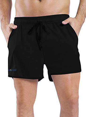 HISKYWIN Men's Running Shorts with Pockets Quick Dry Breathable Active Gym Mesh Shorts for Workout Training Jogging J70-Black w/Black Trim-XL