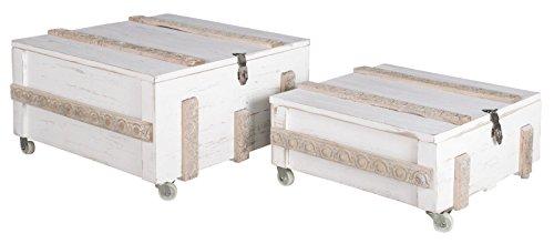 elbmöbel Couchtisch Truhentisch Tisch Kiste weiß antik Holz Truhe Holztisch Shabby Deckel
