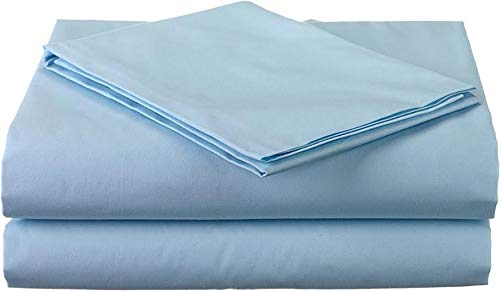 King Size 3 PCs Flat Sheets (1 Flat Sheets & 2 Pillow case) - Luxury Bed Sheets Best Premium Quality Sheet on Amazon Easy Fit Breathable & Cooling Comfy Top Sheet Light Blue Solid 600 Thread Count