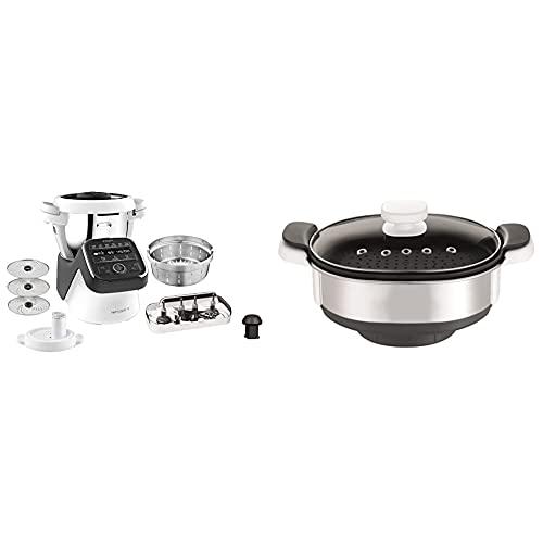 Krups Prep & Cook XL Küchenmaschine mit Kochfunktion HP50A8 | 3 L Edelstahlschüssel | Schwarz/Weiß & XF552D Dampfgaraufsatz, Kunststoff, Edelstahl, 2.8 kilograms, Metallic