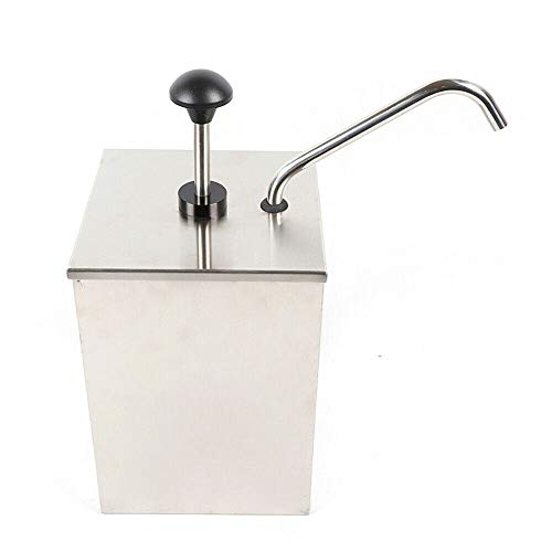 Dispensador de salsas de acero inoxidable, dispensador de salsas, dosificador, recipiente de acero inoxidable de 4 litros para soja, vinagre, ketchup etc. (1 x 4 L)