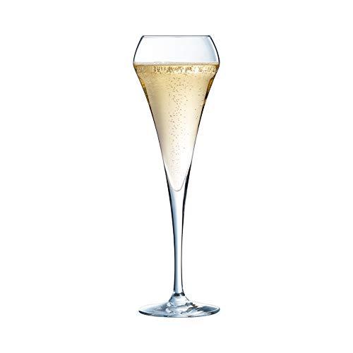 Chef&Sommelier - Collection Open'Up - 6 flûtes Effervescent de 20 cl en Cristallin - Verres Modernes et Élégants - Résistance Hors Norme - Transparence Absolue